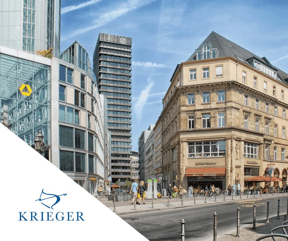 Stadt Frankfurt mit Blick auf das Coffee Fellows und die Deutsche Bank, KRIEGER Logo seitlich.