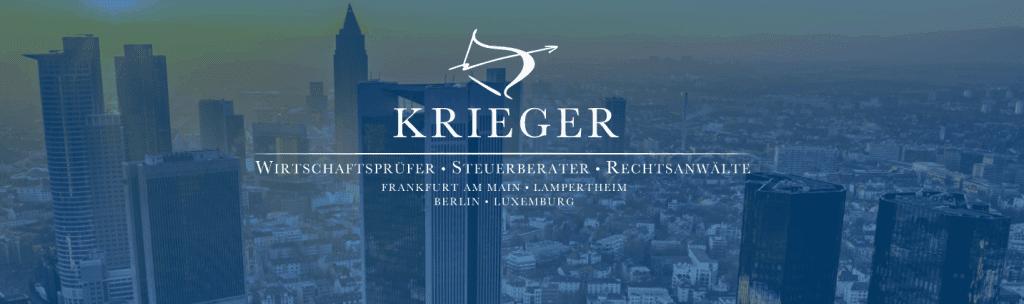 Die Frankfurter Skyline mit dem KRIEGER GmbH Steuerberatungsgesellschaft Logo.